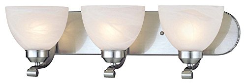 Minka Lavery 5423-84 Paradox - Three Light Bath Vanity, Brushed Nickel Finish with Etched Marble Glass