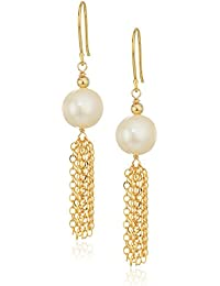 Cultured Freshwater Pearl with Gold Plated Silver Chain and Ear Wire Dangle Earrings