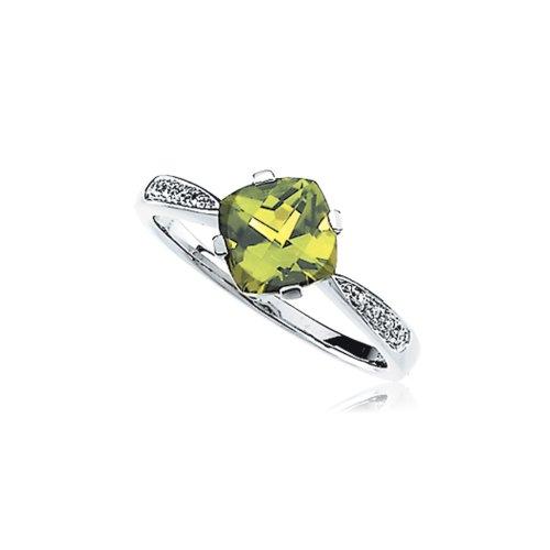Ring Bow Cut Cushion Diamond (Cushion Peridot & .04 Ctw (H-I, I1) Diamond Ring in 14K White Gold Sz7)