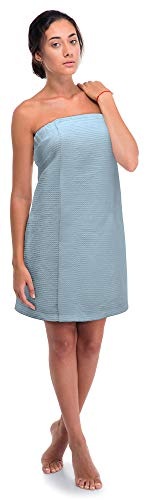(Turkish Linen Women's Waffle Spa Body Wrap with Adjustable Closure (One Size, Light Blue))