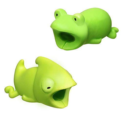 - Kalolary 2 Pack Cute Animals Cable Chewers Cable Accessories Phone Cables Protector (Frog, Chameleon)