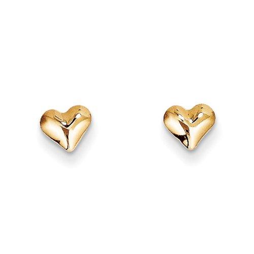 Kids Small Polished Puffed Heart Post Earrings in 14k Yellow Gold (Earrings Heart Polished Open)