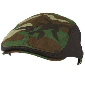 Camo Driver Hat (Mens Cotton Flat Golf Ivy Driving Cap Hat Adjustable M-XL Black Brown Camouflage)