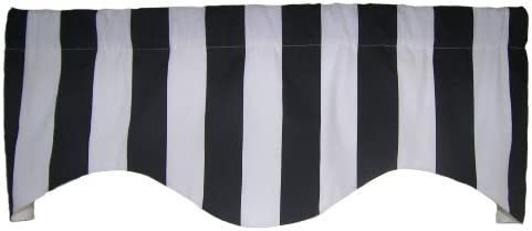 RLF Home Cabana Stripe M Shaped Valance, Black