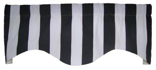 RLF Home Cabana Stripe M Shaped Valance, Black