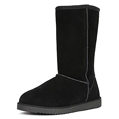 DREAM PAIRS Women's Mid Calf Sheepskin Insole Winter Snow Boots