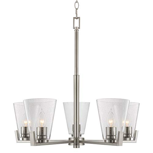 "Kira Home Wiltern 22"" Modern 5-Light Chandelier + Seeded Glass Shades, Adjustable Chain, Brushed Nickel Finish"