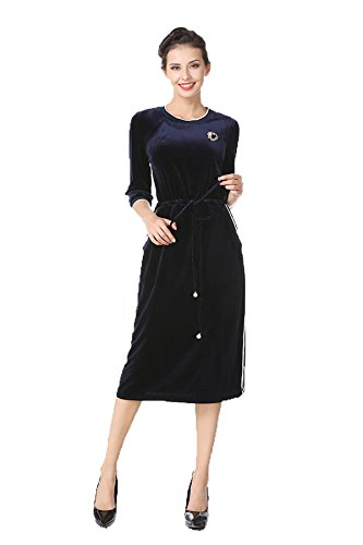 Blue Long XL Pullover Dress XL Stripe Floral Sleeves Tag with Women Pleuche Collar US belt Round RpfnWP1