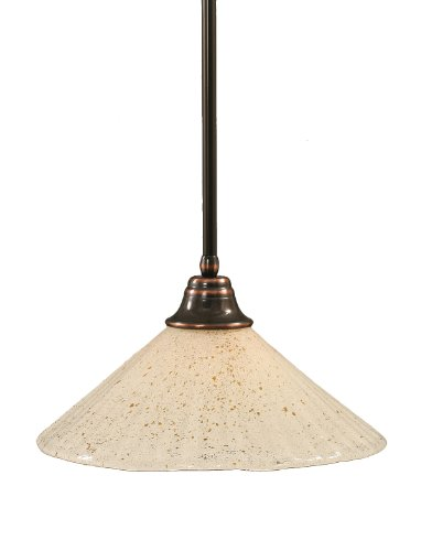 Toltec Lighting 26-BC-714 Stem Pendant Light Black Copper Finish with Gold Ice Glass Shade, 16-Inch