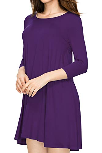 LL WDR930 Womens Round Neck 3/4 Sleeves Trapeze Dress with Pockets M -
