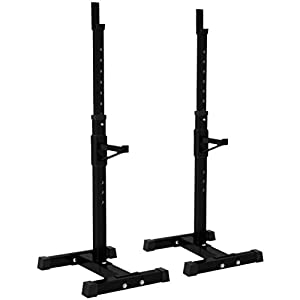 40-62 Inch Adjustable Portable Dumbbell Racks Stands,Squat Rack Dipping Station Barbell Rack Dip Stand Fitness Bench Press Equipment Home & Gym