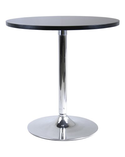 Winsome Wood 29u0026quot; Round Dining Table; Black W/Metal Leg