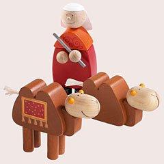 Haba Weihnachtskrippe.Haba Krippenfiguren Kamelhirte Mit Zwei Kamelen
