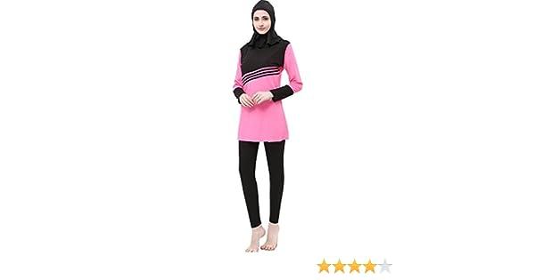 51307214d3d90 Ababalaya Womens Modest Muslim Islamic 3-Piece Print Full Cover Hijab  Burkini Swimsuit at Amazon Women s Clothing store