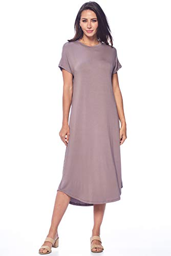 82 Days Womens Short Sleeve Midi Dress Causal Summer Sundress Plus Size Made in USA Toffee - Toffee Kosher