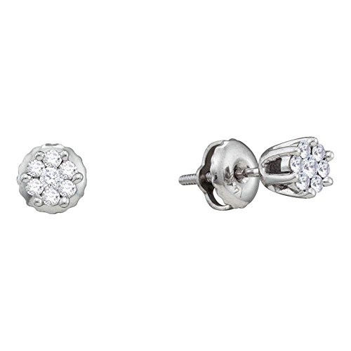 Roy Rose Jewelry 14K White Gold Womens Round Diamond Small Flower Cluster Screwback Earrings 1/6-Carat tw ()