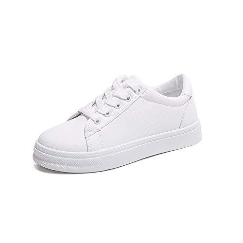 ZHZNVX Zapatos de Mujer PU (Poliuretano) Spring & Summer Comfort Sneakers Flat Heel Round Toe Blanco/Azul / Rosa White