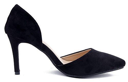 Donna Pumps Scarpe Ageemi Tacco Punta Scamosciato A Col Sexy Nero Shoes Zw6Pqx5