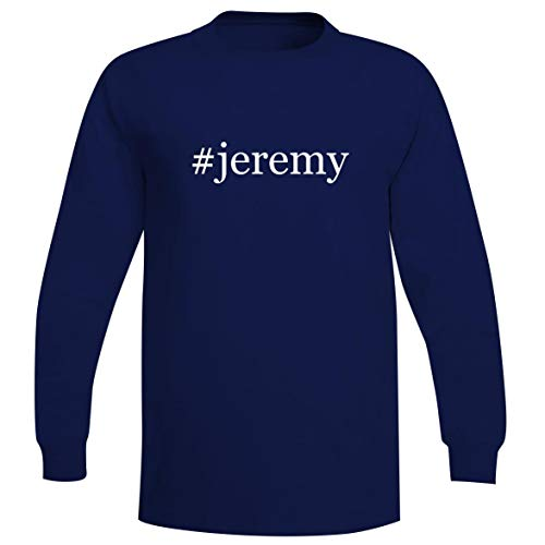 The Town Butler #Jeremy - A Soft & Comfortable Hashtag Men's Long Sleeve T-Shirt, Blue, Large