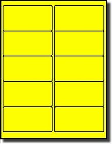(200 LabelOutfitters Fluorescent Neon Yellow Laser Printer ONLY Labels, 4 x 2 inches, 20 Sheets )
