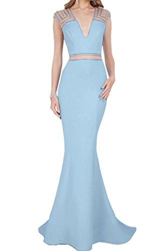 Steine Lang Himmelblau Damen Satin Mermaid Partykleid Liebling Ausschnitt Festkleid Promkleid V Ivydressing Abendkleid 6X1pS4S