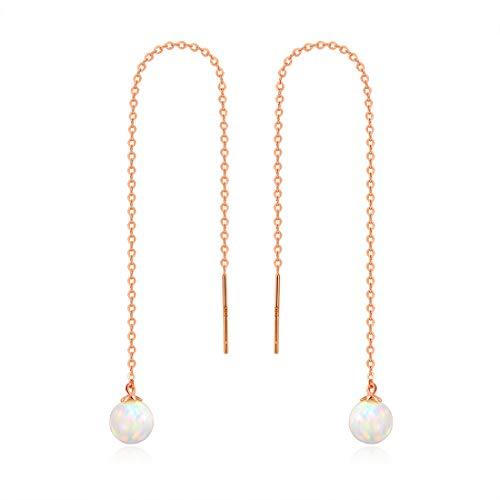(GEMSME 14K Solid Rose Gold 6mm Opal Dangle Earrings for)
