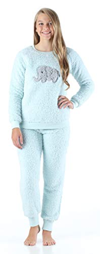 Frankie & Johnny Women's Sleepwear Plush Fleece 2-Piece Pajamas PJ Loungewear Set, Elephant (FJ1146-1071-LRG)