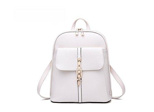 Señoras Mochila Fashion piel sintética bolsa de hombro mochila bolsa de viaje Rice White