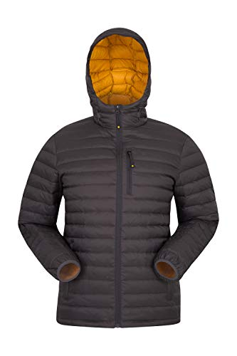 Mountain Warehouse Henry II Mens Down Padded Jacket - Water Resistant Coat, Warm Outerwear, Cosy, Insulated Winter Wear - Clothing for Cold Weather, Outdoor, Travel Dark Grey