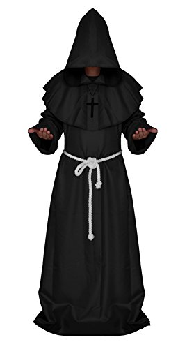 Costume Priest Cassock (Men's Halloween Monk Robe Hoodie Medieval Priest Cassock with Cross & Belt Black)