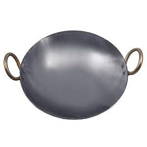 KITCHEN SHOPEE Traditional Iron deep Kadai Frying Pan for Cooking Iron Fry Kadhai Pan Heavy Base Iron Kadhai, Handmade…