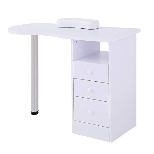 Nail Table SUNCOO Artist Hand Manicure Station Desk Spa Beauty Salon with 3 Drawers 15.7