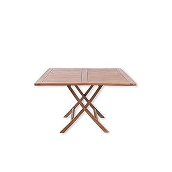 Amazon De Gartentisch Talang 120 Cm Esstisch Eckig Teak Holz