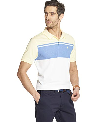 IZOD Men's Advantage Performance Short Sleeve Colorblock Polo, Lemon, Large