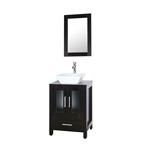 Goodyo Vanity 24 inches Mirrored Floor Mounted Bathroom Vanity Cabinet Combo with Ceramic Wash Basin Black