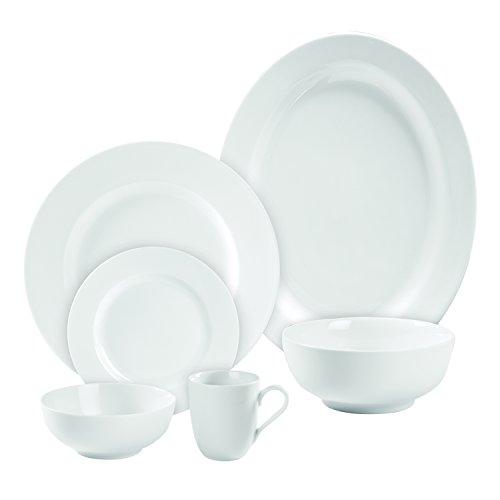Gourmet Whiteware Collection, 18 Piece Rim Dinnerware Set, White