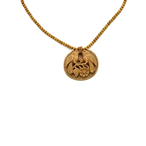 TERRAACRAFT- Hand Carved Flower & Birds Wooden Pendant Beads Necklace.Exquisite Fashion Jewellery for all season