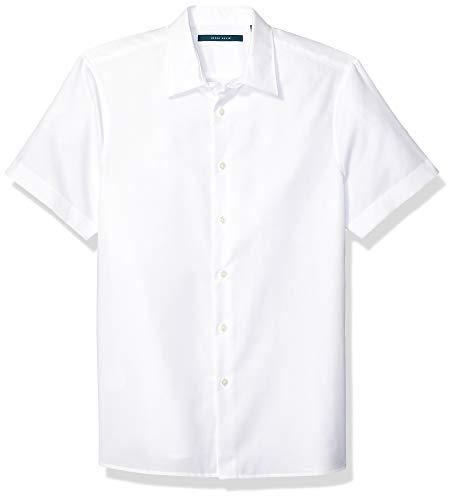 Perry Ellis Men's Dobby Stripe Short Sleeve Shirt, Bright White 126, XX Large