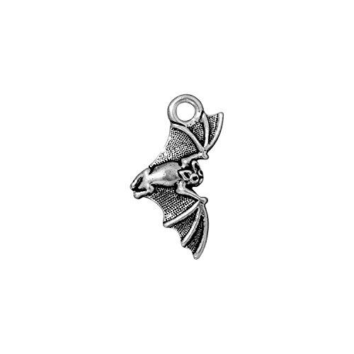 - TierraCast Charm, Bat, 23mm, Antique Fine Silver Plated Pewter, 4-Pack