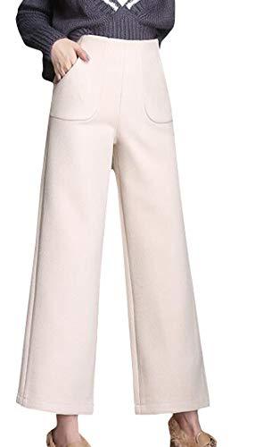 Pandapang Women Winter Hi-Waist Wool Blend Wide Leg Straight Fit Palazzo Pants M White ()