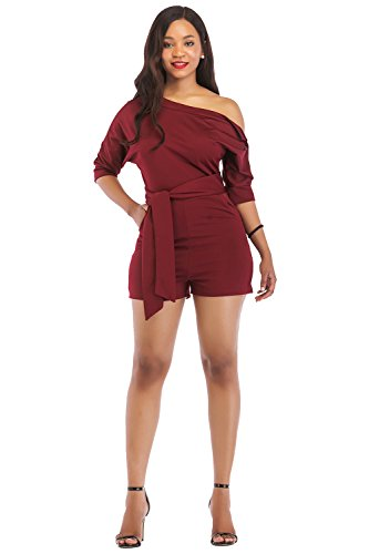 Veroge Women's Fashion Cold Shoulder Belted Short Romper Jumpsuit Wine Red S by Veroge