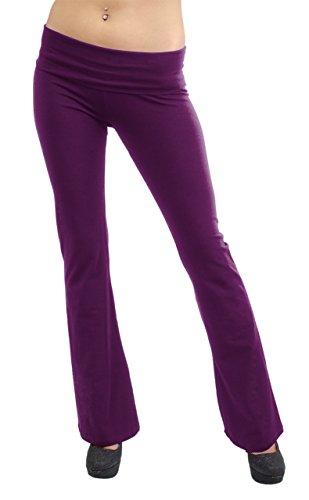 Vivian's Fashions Yoga Pants - Full Length, Junior Size (Purple, Medium)