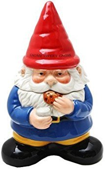 Gnome Sweet Gnome Cookie Jar Handpainted Kitchen Ceramic Collectible Decoration ()