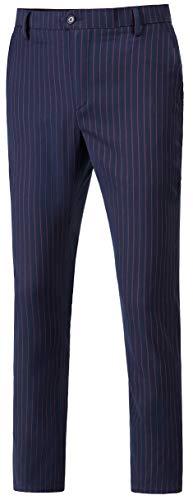 (auguswu Men's Flat Front Slim Fit Wool Chambray Pinstripe Suit Separate Pant 33W¡Á32L Blue)