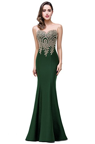 - Elegant Lace Mermaid Long Formal Evening Dresses for Women,Dark Green,Size 14