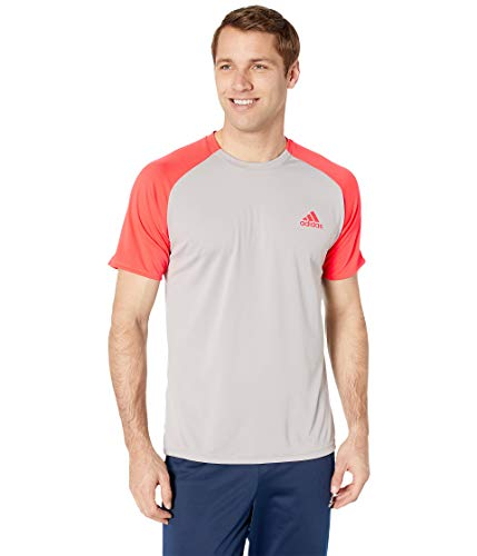 adidas Club Colorblock Tee Light Granite/Shock Red LG (Adidas Block Tshirt)