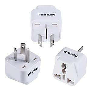 TESSAN Grounded Travel Plug Adapter Universal to Australia/China - Travel Prong Converter Adapter Plug Kit for Australia/China(Type I) - 3 Pack (White)
