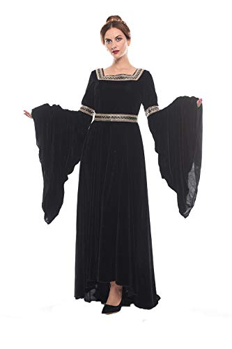 NSPSTT Women Medieval Renaissance Dress Victorian Cosplay Costume Long Sleeve (Small, Black)