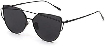 Yistu Twin-Tr/äger klassische Frauen Metallrahmen Spiegel Sonnenbrille Cat Eye Brillenmode