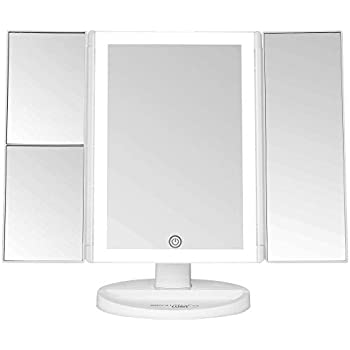 Amazon Com Jerdon Tri Fold Two Sided Lighted Makeup Mirror With 5x Magnification White Finish